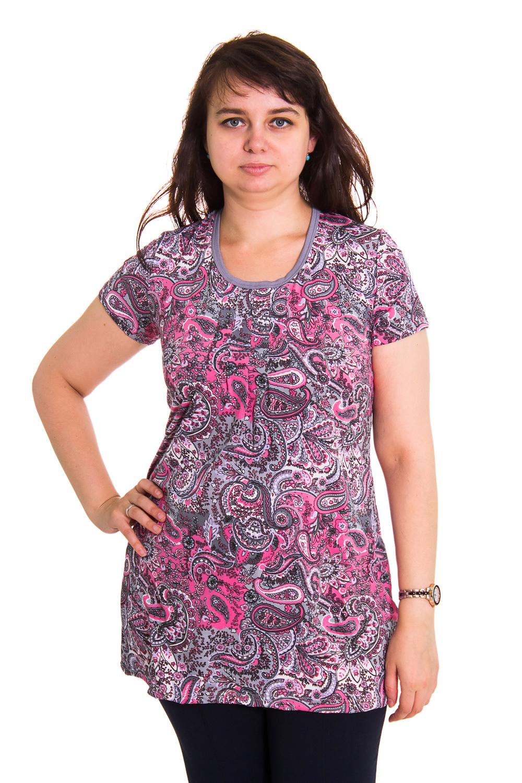 ТуникаТуники<br>Домашняя одежда, прежде всего, должна быть удобной, практичной и красивой. В нашей домашней одежде Вы будете чувствовать себя комфортно, особенно, по вечерам после трудового дня. Цвет: розовый, фиолетовый.<br><br>По стилю: Романтические,Повседневные<br>По материалу: Вискоза,Трикотажные<br>По рисунку: С принтом (печатью),Цветные,Абстракция<br>По сезону: Лето,Осень,Весна,Всесезон,Зима<br>По силуэту: Полуприталенные<br>По длине: Удлиненные<br>Рукав: Короткий рукав<br>Горловина: С- горловина<br>Размер: 46,48,50,52,54,56,58,60<br>Материал: None<br>Количество в наличии: 5