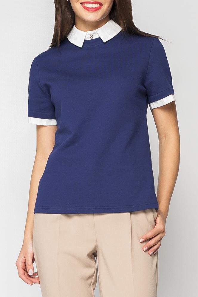 БлузкаБлузки<br>Красивая блузка с эффектом quot;двойкиquot; воротничок отложной, белого цвета, украшеный пуговицой, с застежкой-пуговицей на шее, рукава контрастного белого цвета.   Параметры изделия:  44 размер: полуобхват по линии груди - 48 см, полуобхват по линии бедра 49 - см, длина спинки 61 - см, длина рукава - 21 см;  52 размер: полуобхват по линии груди - 56 см, полуобхват по линии бедра 57 - см, длина спинки 64,5 - см, длина рукава - 21 см.  Цвет: синий, белый  Рост девушки-фотомодели 170 см<br><br>Воротник: Рубашечный<br>По материалу: Трикотаж,Хлопок<br>По рисунку: Однотонные<br>По сезону: Весна,Зима,Лето,Осень,Всесезон<br>По силуэту: Полуприталенные<br>По стилю: Винтаж,Офисный стиль,Повседневный стиль<br>По элементам: С манжетами<br>Рукав: Короткий рукав<br>Размер : 42,44,46<br>Материал: Трикотаж<br>Количество в наличии: 3
