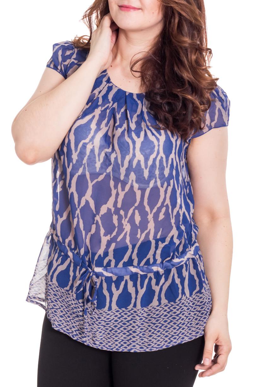 БлузкаБлузки<br>Восхитительная блузка с круглой горловиной и короткими рукавами. Модель выполнена из воздушного шифона. Отличный выбор для повседневного гардероба.  Цвет: синий, серый  Рост девушки-фотомодели 180 см.<br><br>Горловина: С- горловина<br>По материалу: Шифон<br>По образу: Свидание<br>По рисунку: С принтом,Цветные<br>По сезону: Весна,Зима,Лето,Осень,Всесезон<br>По силуэту: Свободные<br>По стилю: Повседневный стиль<br>Рукав: Короткий рукав<br>Размер : 50,52,54,56,58<br>Материал: Шифон<br>Количество в наличии: 3