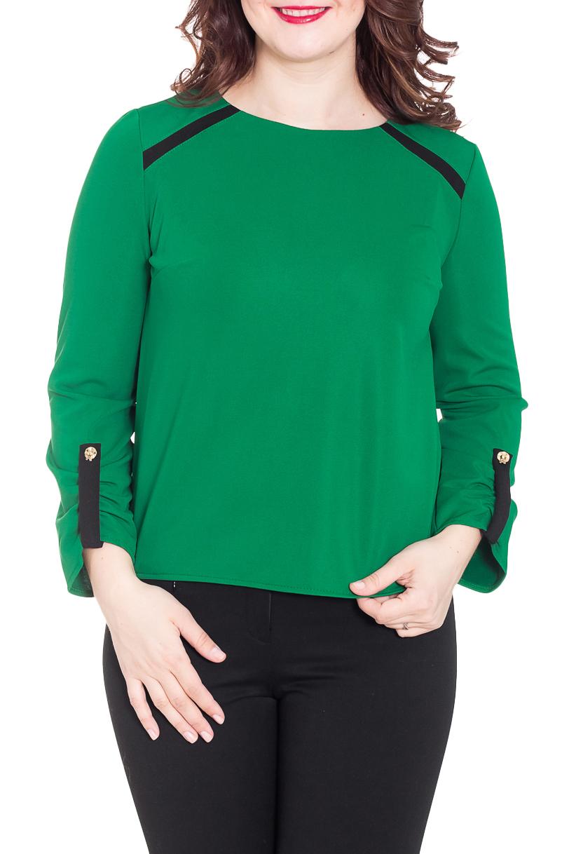 ДжемперДжемперы<br>Красивый джемпер насыщенного зеленого цвета с контрастным декором. Модель выполнена из приятного трикотажа. Отличный выбор для повседневного гаредроба.  Цвет: зеленый, черный  Рост девушки-фотомодели 180 см.<br><br>Горловина: С- горловина<br>По материалу: Трикотаж,Хлопок<br>По рисунку: Однотонные<br>По сезону: Весна,Осень<br>По силуэту: Прямые<br>По стилю: Офисный стиль,Повседневный стиль<br>По элементам: С декором,С молнией,С патами<br>Рукав: Длинный рукав<br>Размер : 46,48,52,60<br>Материал: Джерси<br>Количество в наличии: 4