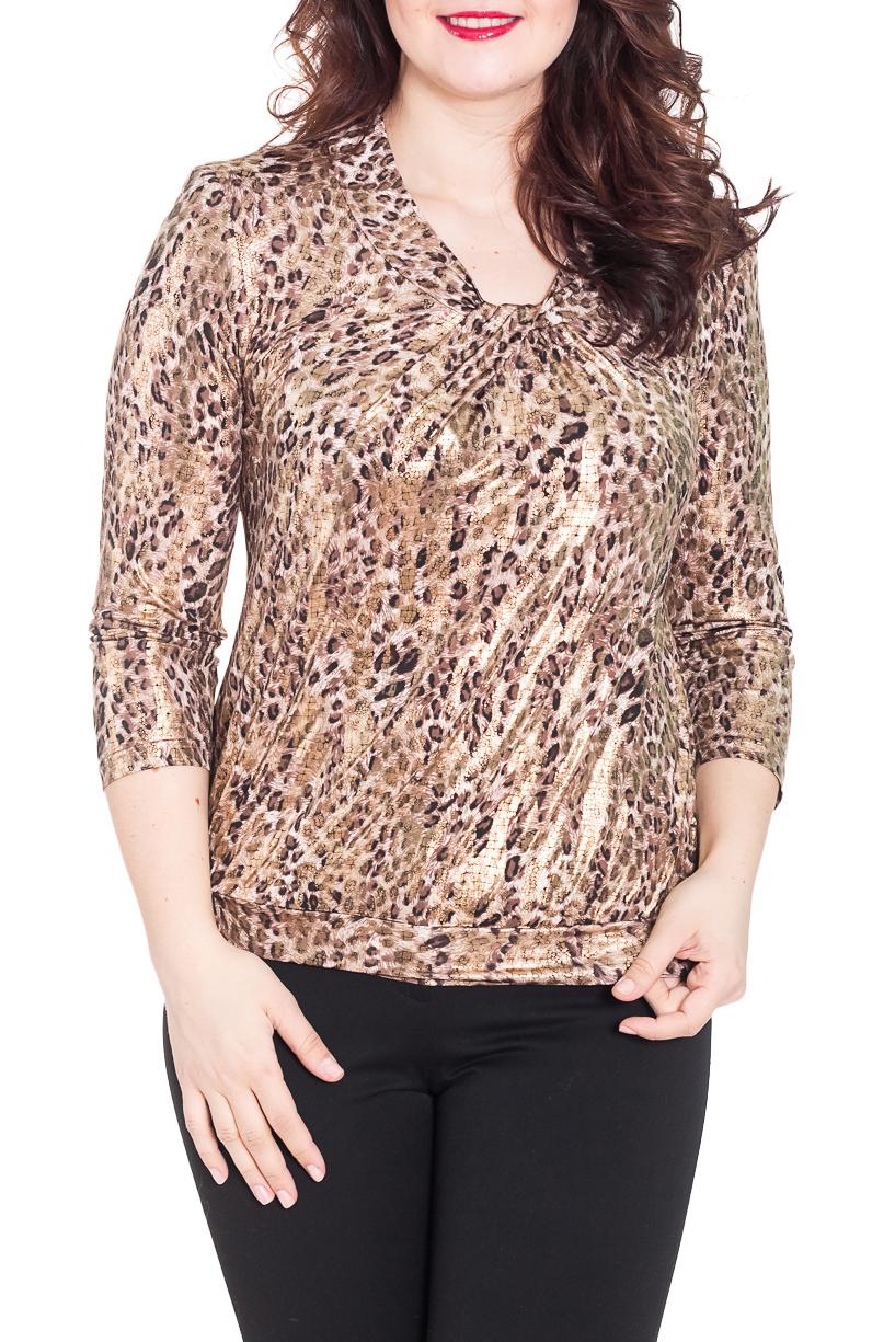 БлузкаБлузки<br>Изумительная женская блузка со сборкой на груди. Длина рукава 3/4. Цвет: бежево-коричневый леопард.  Рост девушки-фотомодели 180 см<br><br>По материалу: Трикотаж<br>По рисунку: Леопард,С принтом,Цветные<br>По сезону: Весна,Зима,Осень<br>По силуэту: Приталенные<br>По стилю: Повседневный стиль<br>По элементам: С декором,Со складками<br>Рукав: Рукав три четверти<br>Размер : 44-46,48-50,52-54,58-60,64-66<br>Материал: Холодное масло<br>Количество в наличии: 11