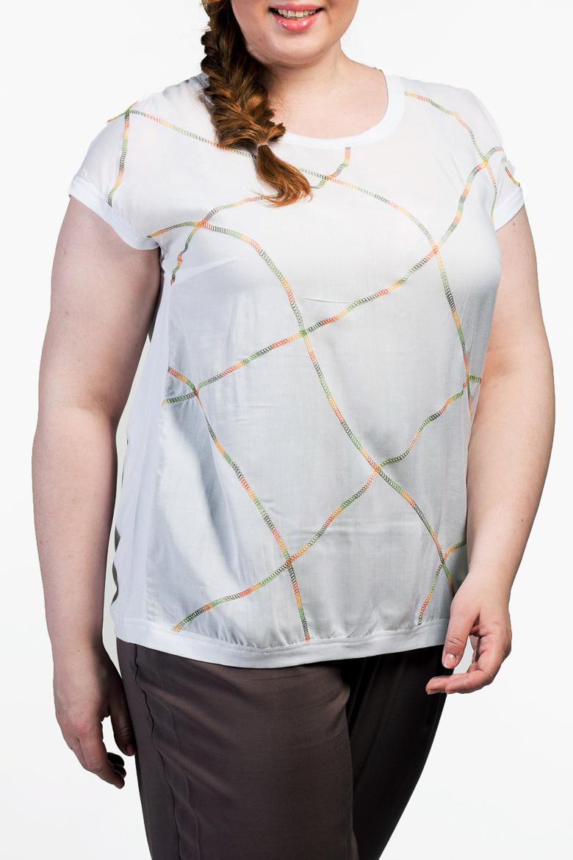 БлузкаБлузки<br>Универсальная блузка с короткими рукавами из мягкой вискозы.  Повседневная одежда должна выполнять не только защитную, но и декоративную функцию, скрывая недостатки и подчеркивая достоинства. Поэтому одежда для полных должна быть прямого или свободного силуэта.  Цвет: белый с цветной декоративной строчкой  Ростовка изделия 170 см.<br><br>Горловина: С- горловина<br>По материалу: Вискоза<br>По рисунку: Однотонные<br>По сезону: Весна,Зима,Лето,Осень,Всесезон<br>По силуэту: Полуприталенные<br>По стилю: Повседневный стиль,Летний стиль<br>По элементам: С декором<br>Рукав: Короткий рукав<br>Размер : 54,58,60<br>Материал: Вискоза<br>Количество в наличии: 3