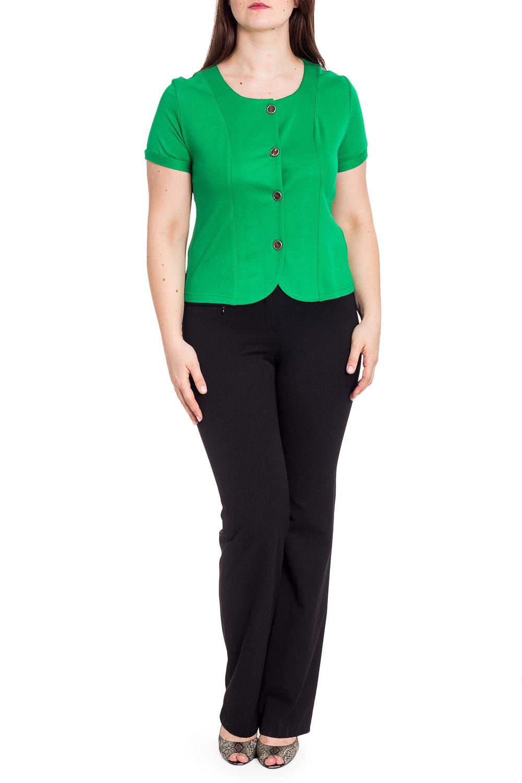 БлузкаБлузки<br>Однотонная блузка с короткими рукавами и застежкой на пуговицы. Отличный выбор для повседневного и делового гардероба. Блузку можно носить как летний жакет.  Цвет: зеленый  Рост девушки-фотомодели 180 см.<br><br>Горловина: С- горловина<br>Застежка: С пуговицами<br>По материалу: Вискоза,Трикотаж<br>По рисунку: Однотонные<br>По сезону: Весна,Зима,Лето,Осень,Всесезон<br>По силуэту: Полуприталенные<br>По стилю: Кэжуал,Повседневный стиль,Летний стиль<br>Рукав: Короткий рукав<br>Размер : 50,52,54,56,58,60<br>Материал: Трикотаж<br>Количество в наличии: 6