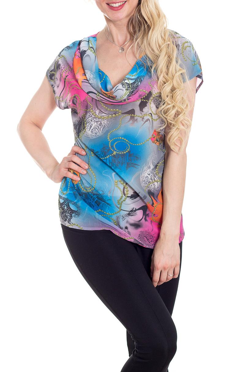 БлузкаБлузки<br>Эффектная блузка с интересным принтом. Модель выполнена из воздушного шифона. Отличный выбор для повседневного гардероба.  В изделии использованы цвета: голубой, серый и др.  Рост девушки-фотомодели 170 см.<br><br>Горловина: Качель<br>По материалу: Шифон<br>По рисунку: С принтом,Цветные<br>По сезону: Весна,Зима,Лето,Осень,Всесезон<br>По силуэту: Прямые<br>По стилю: Повседневный стиль<br>Рукав: Короткий рукав<br>Размер : 42<br>Материал: Шифон<br>Количество в наличии: 1