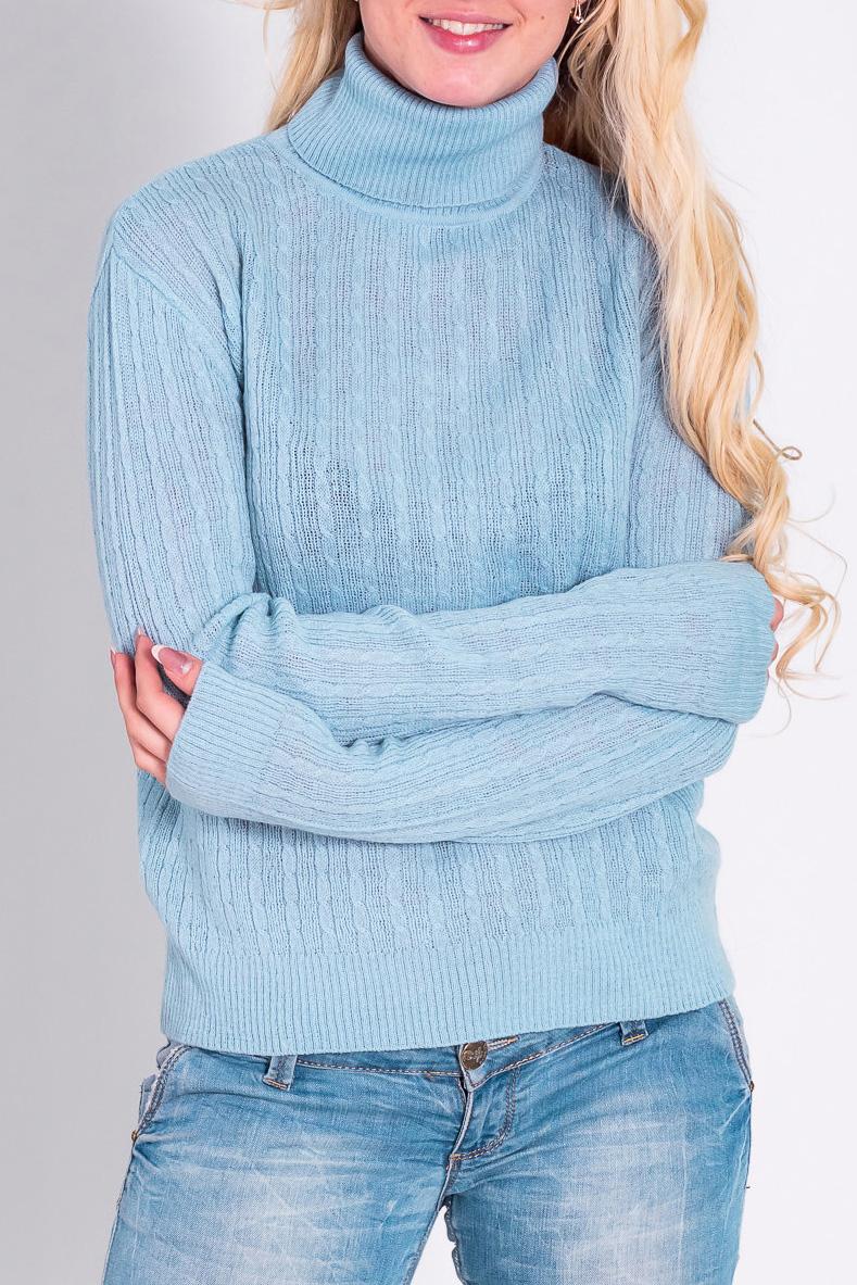 ВодолазкаВодолазки<br>Теплая водолазка с длинными рукавами. Отличный выбор для повседневного гардероба.  Цвет: голубой  Рост девушки-фотомодели 170 см.<br><br>Воротник: Стойка<br>По материалу: Трикотаж<br>По рисунку: Однотонные<br>По сезону: Зима<br>По силуэту: Полуприталенные<br>По стилю: Повседневный стиль<br>Рукав: Длинный рукав<br>Размер : 44,46,48<br>Материал: Трикотаж<br>Количество в наличии: 4