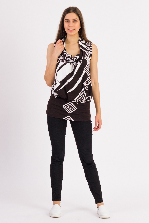 Фото - Туника блузка женская oodji collection цвет кремовый темно коричневый 21414004 45906 3039a размер 36 170 42 170