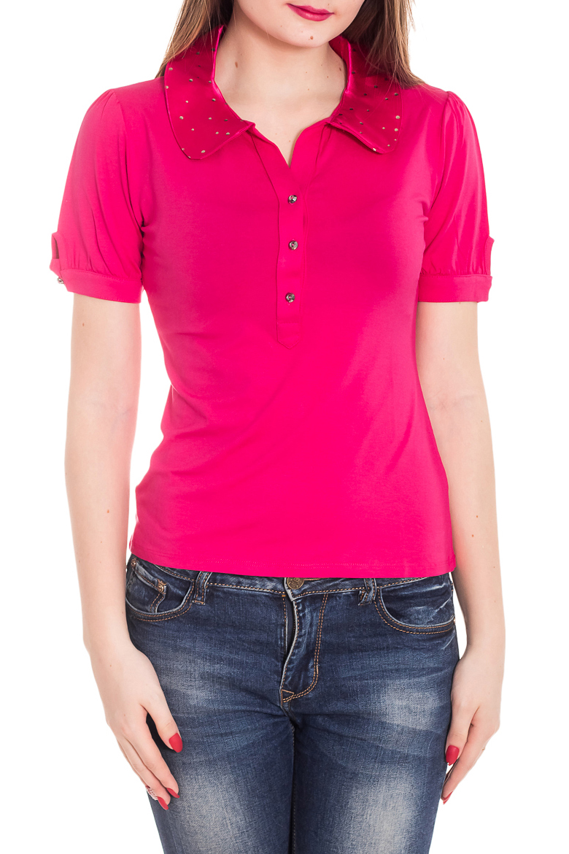 БлузкаБлузки<br>Красивая блузка с короткими рукавами. Модель выполнена из приятного материала. Отличный выбор для повседневного гардероба.  Цвет: розовый  Рост девушки-фотомодели 180 см<br><br>Воротник: Отложной<br>Горловина: V- горловина<br>Застежка: С пуговицами<br>По материалу: Вискоза<br>По образу: Город<br>По рисунку: Однотонные<br>По сезону: Весна,Зима,Лето,Осень,Всесезон<br>По силуэту: Полуприталенные<br>По стилю: Повседневный стиль<br>Рукав: Короткий рукав<br>Размер : 44<br>Материал: Вискоза<br>Количество в наличии: 1