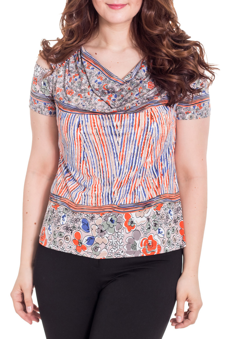 БлузкаБлузки<br>Очаровательная женская блузка с горловиной quot;качельquot; и короткими рукавами. Модель выполнена из приятного материала. Отличный выбор для повседневного гардероба.  Цвет: серый, оранжевый, синий  Рост девушки-фотомодели 180 см<br><br>Горловина: Качель<br>По материалу: Вискоза,Трикотаж<br>По рисунку: Абстракция,С принтом,Цветные<br>По сезону: Весна,Зима,Лето,Осень,Всесезон<br>По силуэту: Полуприталенные<br>По стилю: Повседневный стиль,Летний стиль<br>Рукав: Короткий рукав<br>Размер : 52<br>Материал: Холодное масло<br>Количество в наличии: 1