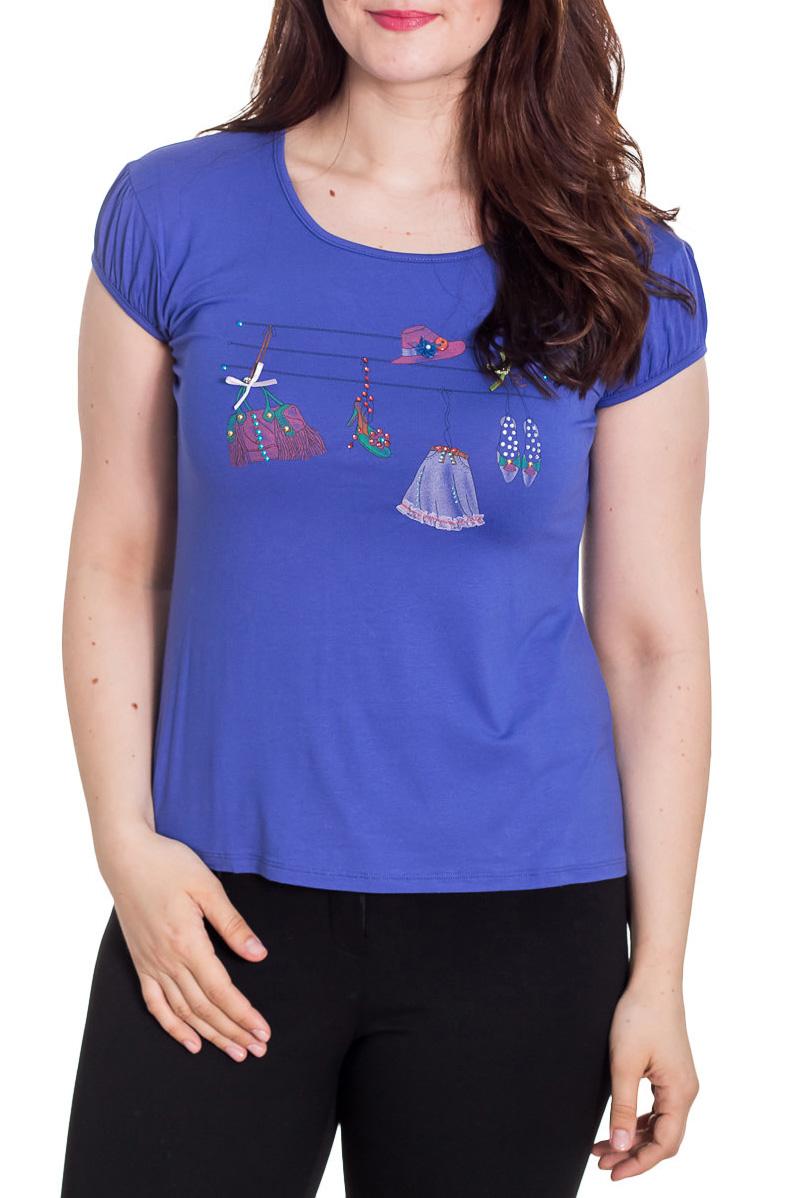 ФутболкаФутболки<br>Универсальная футболка с короткими рукавами. Модель выполнена из приятного материала. Отличный выбор для повседневного гардероба.  Цвет: индиго, мультицвет  Рост девушки-фотомодели 180 см<br><br>Горловина: С- горловина<br>По материалу: Вискоза<br>По рисунку: С принтом,Цветные<br>По сезону: Весна,Зима,Лето,Осень,Всесезон<br>По силуэту: Приталенные<br>По стилю: Повседневный стиль<br>Рукав: Короткий рукав<br>Размер : 48<br>Материал: Вискоза<br>Количество в наличии: 1