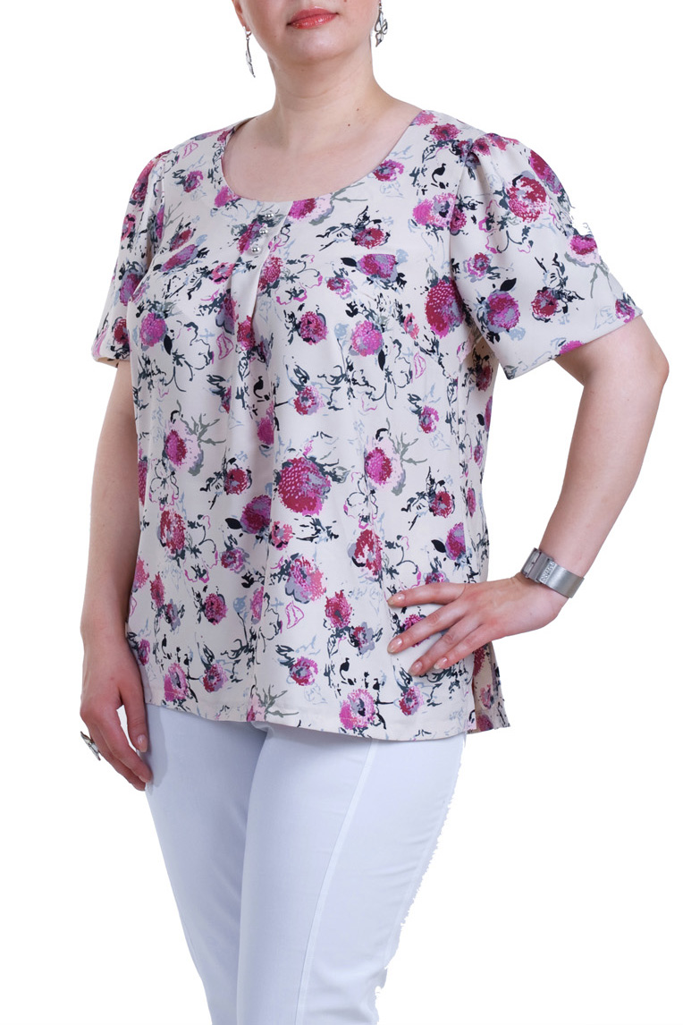 БлузкаБлузки<br>Цветная блузка с короткими рукавами. Модель выполнена из мягкой вискозы. Отличный выбор для повседневного гардероба.  Цвет: белый, розовый, черный  Рост девушки-фотомодели 173 см.<br><br>Горловина: С- горловина<br>По материалу: Вискоза,Трикотаж<br>По рисунку: Растительные мотивы,С принтом,Цветные,Цветочные<br>По сезону: Весна,Зима,Лето,Осень,Всесезон<br>По силуэту: Прямые<br>По стилю: Повседневный стиль,Романтический стиль,Летний стиль<br>Рукав: Короткий рукав<br>Размер : 60,62<br>Материал: Вискоза<br>Количество в наличии: 2