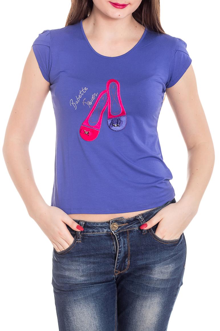 ФутболкаФутболки<br>Универсальная футболка с короткими рукавами. Модель выполнена из приятного материала. Отличный выбор для повседневного гардероба.  Цвет: индиго, мультицвет  Рост девушки-фотомодели 180 см<br><br>Горловина: С- горловина<br>По материалу: Вискоза<br>По рисунку: С принтом,Цветные<br>По сезону: Весна,Зима,Лето,Осень,Всесезон<br>По силуэту: Приталенные<br>По стилю: Повседневный стиль<br>Рукав: Короткий рукав<br>Размер : 44<br>Материал: Вискоза<br>Количество в наличии: 1