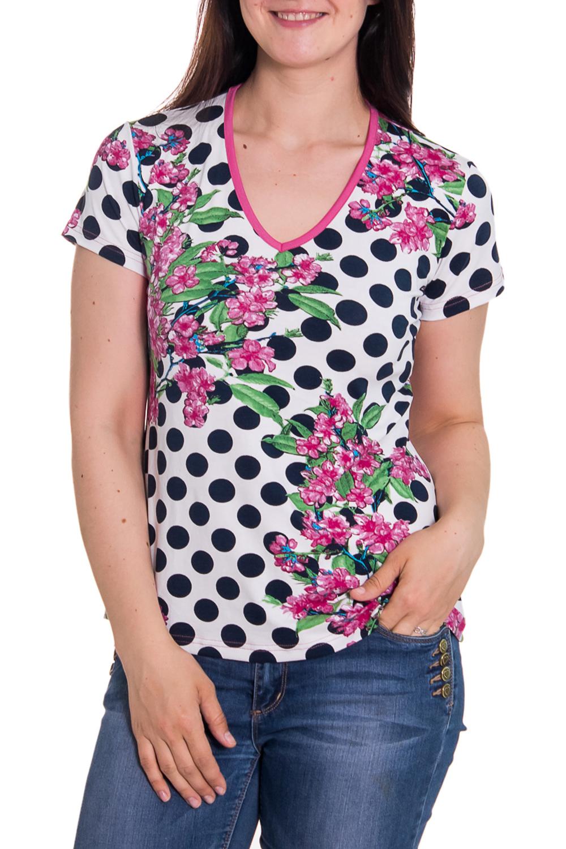 ФутболкаФутболки<br>Женская футболка с коротким рукавом и круглой горловиной. Модель выполнена из приятного трикотажа. Отличный вариант для повседневного гардероба.  Цвет: белый, синий, розовый  Рост девушки-фотомодели 180 см<br><br>Горловина: V- горловина<br>По образу: Город,Свидание<br>По рисунку: В горошек,Растительные мотивы,Цветные,Цветочные<br>По сезону: Весна,Всесезон,Зима,Лето,Осень<br>По силуэту: Полуприталенные<br>Рукав: Короткий рукав<br>По материалу: Трикотаж<br>По стилю: Повседневный стиль<br>Размер : 44<br>Материал: Вискоза<br>Количество в наличии: 1