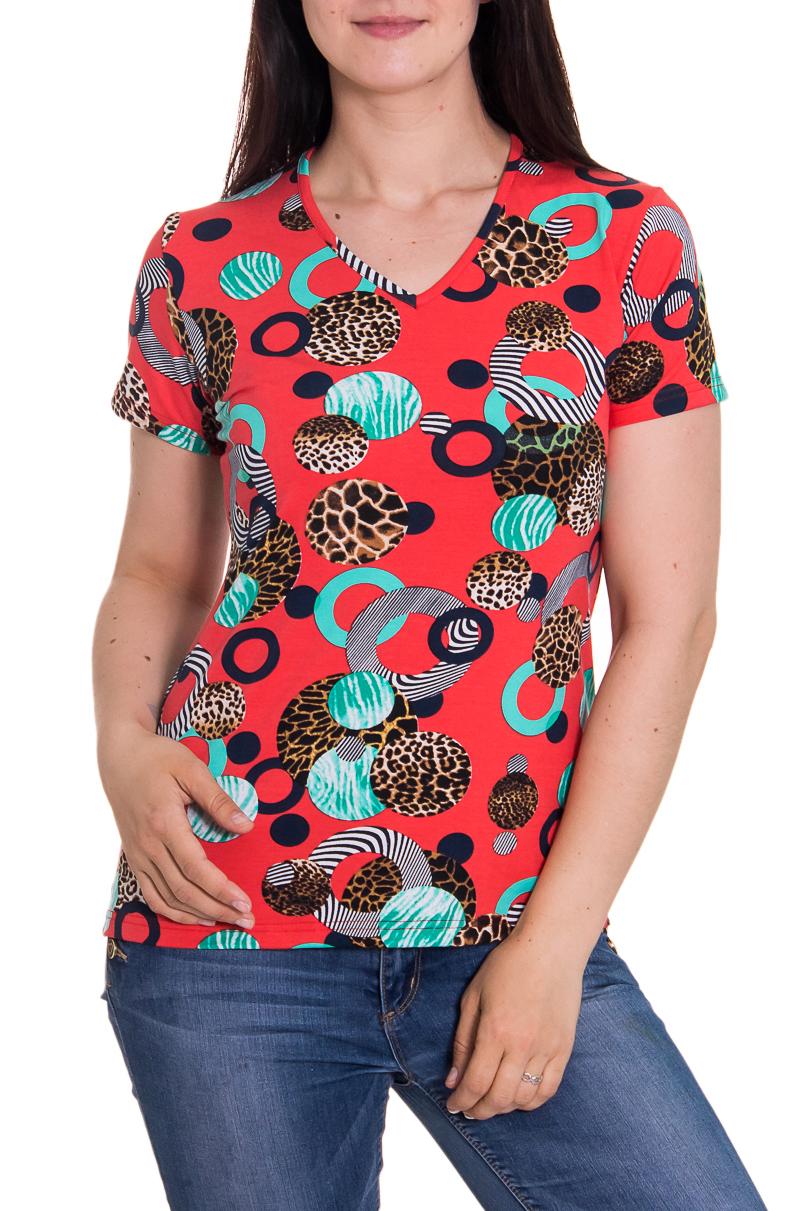 ФутболкаФутболки<br>Женская футболка с коротким рукавом и круглой горловиной. Модель выполнена из приятного трикотажа. Отличный вариант для повседневного гардероба.  Цвет: красный, голубой, коричневый  Рост девушки-фотомодели 180 см<br><br>По образу: Город,Свидание<br>По рисунку: Цветные,С принтом<br>По сезону: Весна,Всесезон,Зима,Лето,Осень<br>Рукав: Короткий рукав<br>По стилю: Повседневный стиль<br>Горловина: С- горловина<br>По материалу: Вискоза<br>По силуэту: Приталенные<br>Размер : 44,46<br>Материал: Вискоза<br>Количество в наличии: 3