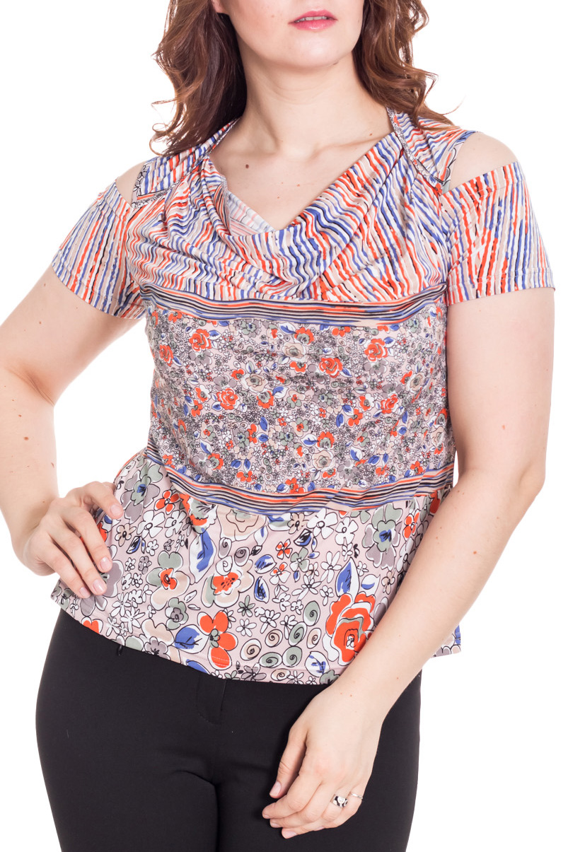 БлузкаБлузки<br>Очаровательная женская блузка с горловиной качель и короткими рукавами. Модель выполнена из приятного материала. Отличный выбор для повседневного гардероба.  Цвет: серый, оранжевый, синий  Рост девушки-фотомодели 180 см<br><br>Горловина: Качель<br>По материалу: Вискоза,Трикотаж<br>По образу: Город,Свидание<br>По рисунку: Абстракция,С принтом,Цветные<br>По сезону: Весна,Зима,Лето,Осень,Всесезон<br>По силуэту: Полуприталенные<br>По стилю: Повседневный стиль<br>Рукав: Короткий рукав<br>Размер : 48<br>Материал: Холодное масло<br>Количество в наличии: 1