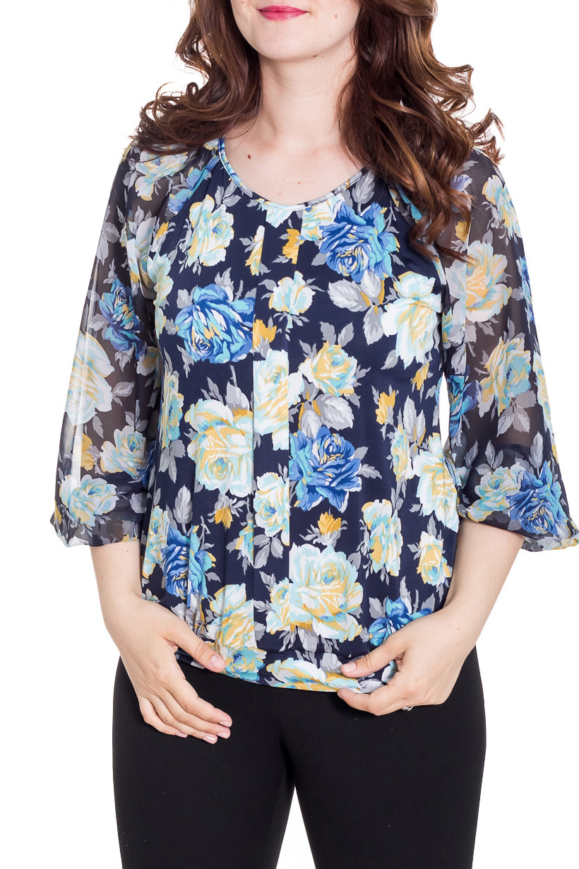 БлузкаБлузки<br>Цветная блузка свободного силуэта с рукавами 3/4. Модель выполнена из приятного материала. Отличный выбор на любой случай.  Цвет: синий, голубой, желтый  Рост девушки-фотомодели 180 см<br><br>Горловина: С- горловина<br>По материалу: Вискоза,Трикотаж,Шифон<br>По рисунку: Растительные мотивы,С принтом,Цветные,Цветочные<br>По сезону: Весна,Зима,Лето,Осень,Всесезон<br>По силуэту: Свободные<br>По стилю: Повседневный стиль<br>Рукав: Рукав три четверти<br>Размер : 48,50,56<br>Материал: Холодное масло + Шифон<br>Количество в наличии: 3
