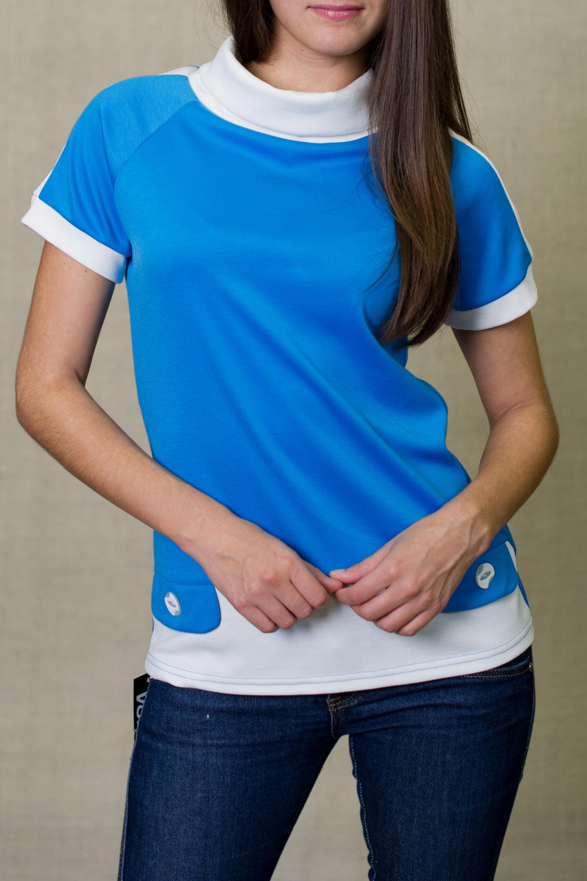 БлузкаБлузки<br>Цветная блузка со стоячим воротником и короткими рукавами. Модель выполнена из приятного материала. Отличный выбор для повседневного гардероба.   В изделии использованы цвета: голубой, белый  Ростовка изделия 170 см.<br><br>Воротник: Стойка<br>По материалу: Вискоза,Трикотаж<br>По образу: Город,Свидание<br>По рисунку: Цветные<br>По сезону: Весна,Зима,Лето,Осень,Всесезон<br>По силуэту: Прямые<br>По стилю: Повседневный стиль<br>По элементам: С декором<br>Рукав: Короткий рукав<br>Размер : 44<br>Материал: Трикотаж<br>Количество в наличии: 1