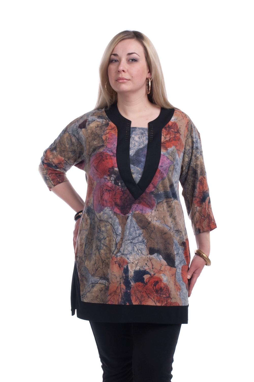 ТуникаТуники<br>Удлиненная женская туника с фигурной горловиной и рукавами 3/4. Модель выполнена из плотного трикотажа. Отличный выбор для повседневного гардероба.  Цвет: серый, бежевый, коралловый, красный, черный  Рост девушки-фотомодели 173 см.<br><br>По образу: Город,Свидание<br>По стилю: Повседневный стиль<br>По материалу: Трикотаж,Вискоза<br>По рисунку: Цветные,Растительные мотивы<br>По сезону: Весна,Осень<br>По силуэту: Прямые<br>По элементам: С декором<br>Рукав: Рукав три четверти<br>Горловина: Асимметричная горловина<br>Размер: 58,60,62,64,66<br>Материал: 60% вискоза 30% полиэстер 10% эластан<br>Количество в наличии: 3
