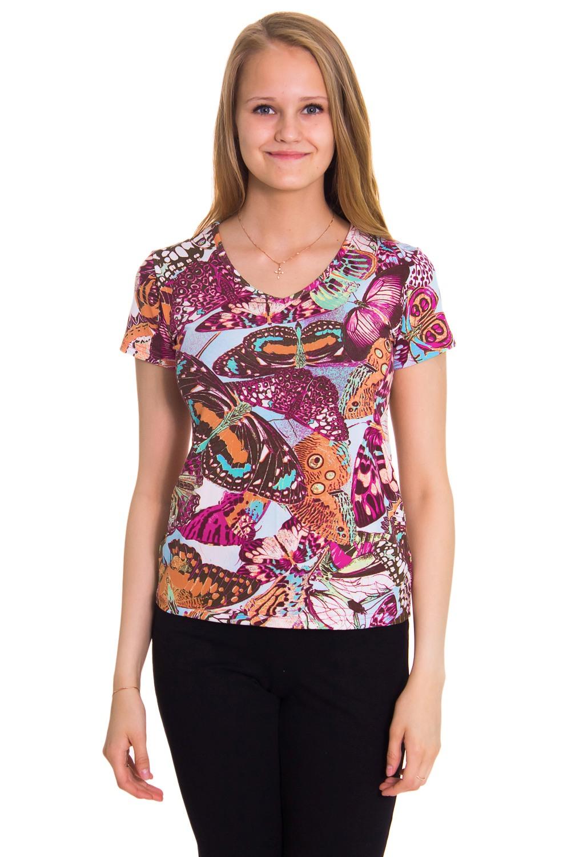 ФутболкаФутболки<br>Женская футболка с коротким рукавом и круглой горловиной. Модель выполнена из приятного трикотажа. Отличный вариант для повседневного гардероба.  Цвет: бежевый, коричневый, фиолетовый  Рост девушки-фотомодели 176 см<br><br>По образу: Город,Свидание<br>По стилю: Повседневный стиль,Молодежный стиль<br>По материалу: Трикотаж<br>По рисунку: Бабочки,Цветные<br>По сезону: Осень,Весна,Всесезон,Зима,Лето<br>По силуэту: Полуприталенные<br>Рукав: Короткий рукав<br>Горловина: С- горловина<br>Размер: 46<br>Материал: 95% вискоза 5% лайкра<br>Количество в наличии: 1