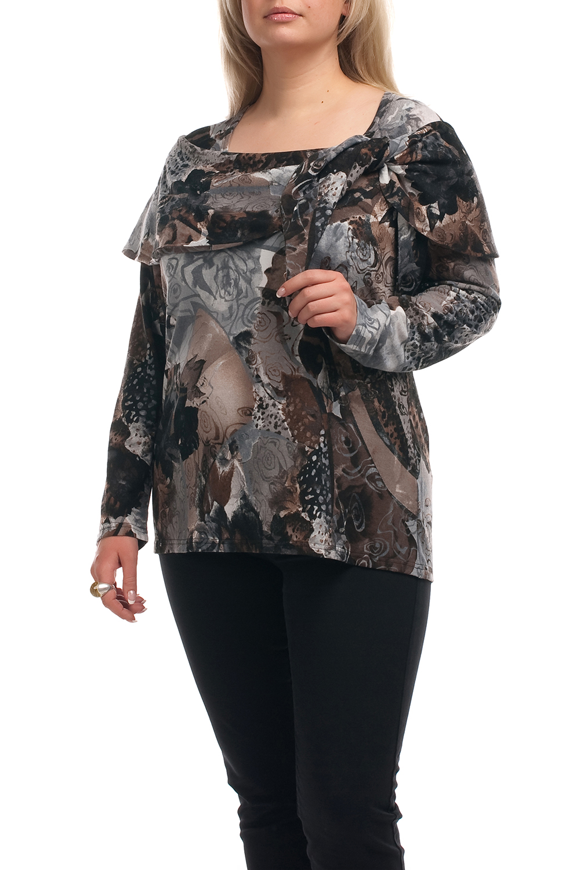 БлузкаБлузки<br>Чудесная блузка с длинными рукавами. Модель выполнена из мягкого трикотажа. Отличный выбор для повседневного гардероба.  Цвет: серый, коричневый, черный  Рост девушки-фотомодели 173 см.<br><br>Горловина: С- горловина<br>По материалу: Трикотаж<br>По рисунку: Абстракция,С принтом,Цветные<br>По сезону: Весна,Зима,Лето,Осень,Всесезон<br>По силуэту: Полуприталенные<br>По стилю: Повседневный стиль<br>Рукав: Длинный рукав<br>Размер : 52,58,66<br>Материал: Трикотаж<br>Количество в наличии: 5