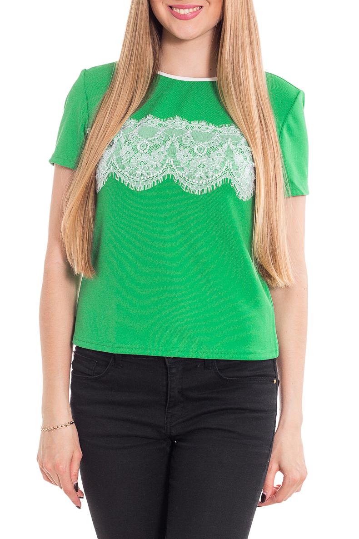 БлузкаБлузки<br>Элегантная блуза свободного прилегания с коротким рукавом. Выполнена из комфортного полотна, круглый вырез горловины обработан кантом, перед изделия декорирован изящным кружевом.   Цвет: зеленый, белый  Рост девушки-фотомодели 170 см<br><br>Горловина: С- горловина<br>По материалу: Трикотаж<br>По образу: Город,Свидание<br>По рисунку: Цветные<br>По сезону: Весна,Зима,Лето,Осень,Всесезон<br>По силуэту: Приталенные<br>По стилю: Летний стиль,Повседневный стиль<br>По элементам: С декором<br>Рукав: Короткий рукав<br>Размер : 42-44,46-48<br>Материал: Трикотаж<br>Количество в наличии: 4