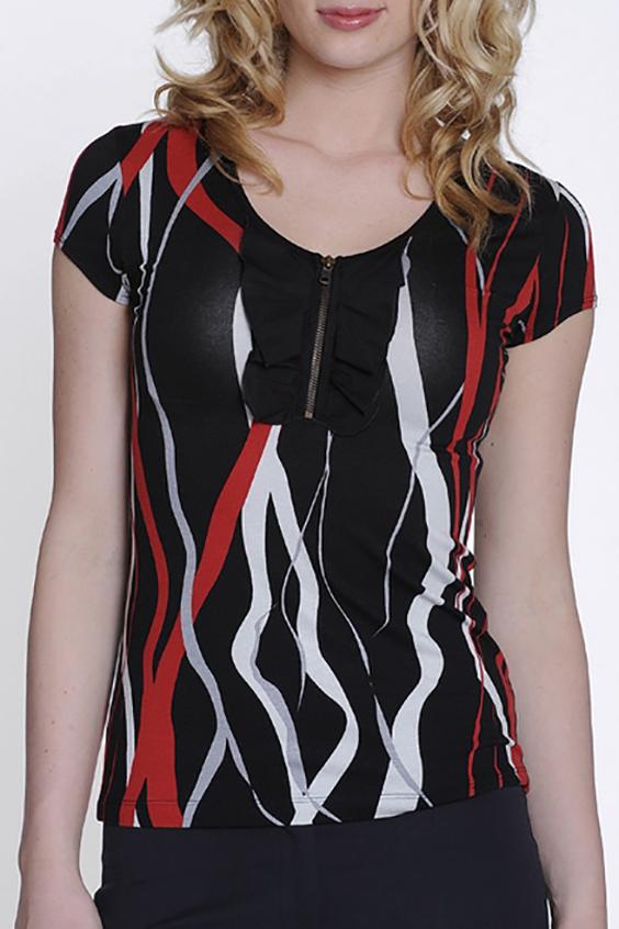БлузкаБлузки<br>Красивая блузка с короткими рукавами. Модель выполнена из мягкой вискозы. Отличный выбор для повседневного гардероба.  Цвет: черный, белый, красный  Росовка изделия 170 см<br><br>Горловина: С- горловина<br>Рукав: Короткий рукав<br>Застежка: С молнией<br>Материал: Вискоза,Трикотаж<br>Рисунок: С принтом,Цветные<br>Сезон: Весна,Всесезон,Зима,Лето,Осень<br>Силуэт: Полуприталенные<br>Стиль: Повседневный стиль,Летний стиль<br>Элементы: С воланами и рюшами,С декором<br>Размер : 44,46<br>Материал: Вискоза<br>Количество в наличии: 2