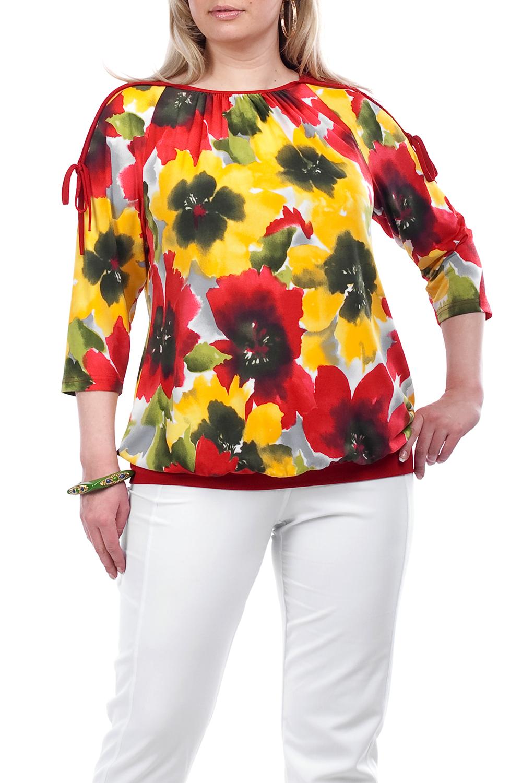 БлузкаБлузки<br>Яркая блузка с рукавами 3/4. Модель выполнена из приятного материала. Отличный выбор для повседневного гардероба.  Цвет: красный, желтый, зеленый, черный, серый  Рост девушки-фотомодели 173 см.<br><br>По образу: Город,Свидание<br>По стилю: Повседневный стиль<br>По материалу: Трикотаж<br>По рисунку: С принтом,Цветные,Цветочные,Растительные мотивы<br>По сезону: Лето,Всесезон,Осень,Весна,Зима<br>По силуэту: Полуприталенные<br>Рукав: Рукав три четверти<br>Горловина: С- горловина<br>Размер: 58,62<br>Материал: 60% вискоза 30% полиэстер 10% эластан<br>Количество в наличии: 2