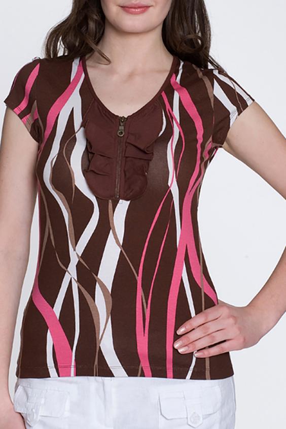 БлузкаБлузки<br>Красивая блузка с короткими рукавами. Модель выполнена из мягкой вискозы. Отличный выбор для повседневного гардероба.  Цвет: коричневый, белый, коралловый  Росовка изделия 170 см<br><br>Горловина: V- горловина<br>По материалу: Вискоза,Трикотаж<br>По образу: Город,Свидание<br>По рисунку: С принтом,Цветные<br>По сезону: Весна,Зима,Лето,Осень,Всесезон<br>По силуэту: Полуприталенные<br>По стилю: Повседневный стиль<br>Рукав: Короткий рукав<br>Застежка: С молнией<br>Размер : 44,46,48<br>Материал: Вискоза<br>Количество в наличии: 3