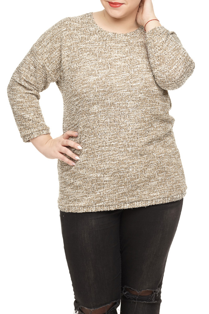 БлузаБлузки<br>Превосходная блуза прямого силуэта из буклированного трикотажного полотна с люрексом. Вырез горловины круглый. На спинке вырез ввиде капли с бантиком. Линия плеча спущена, рукав втачной 7/8 с манжетом. Низ блузы оформлен манжетом.  В изделии использованы цвета: бежевый и др.  Длина изделия: 72 см  Параметры размеров: 40 размер - обхват груди 80 см., обхват талии 62 см., обхват бедер 86 см. 42 размер - обхват груди 84 см., обхват талии 66 см., обхват бедер 90 см. 44 размер - обхват груди 88 см., обхват талии 70 см., обхват бедер 94 см. 46 размер - обхват груди 92 см., обхват талии 74 см., обхват бедер 98 см. 48 размер - обхват груди 96 см., обхват талии 78 см., обхват бедер 102 см. 50 размер - обхват груди 100 см., обхват талии 82 см., обхват бедер 106 см. 52 размер - обхват груди 104 см., обхват талии 86 см., обхват бедер 110 см. 54 размер - обхват груди 110 см., обхват талии 92 см., обхват бедер 116 см. 56 размер - обхват груди 116 см., обхват талии 98 см., обхват бедер 122 см. 58 размер - обхват груди 122 см., обхват талии 104 см., обхват бедер 128 см. 60 размер - обхват груди 128 см., обхват талии 110 см., обхват бедер 134 см.  Ростовка изделия 170 см.<br><br>Горловина: С- горловина<br>По материалу: Трикотаж<br>По рисунку: Цветные<br>По сезону: Весна,Зима,Лето,Осень,Всесезон<br>По силуэту: Приталенные<br>По стилю: Повседневный стиль<br>По элементам: С декором<br>Рукав: Длинный рукав<br>Размер : 50,52,54,56,58,60<br>Материал: Трикотаж<br>Количество в наличии: 12
