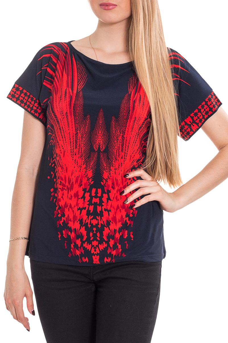БлузкаБлузки<br>Цветная блузка с короткими рукавами. Модель выполнена из приятного материала. Отличный выбор для повседневного гардероба.  Цвет: синий, красный  Рост девушки-фотомодели 170 см.<br><br>Горловина: С- горловина<br>По материалу: Трикотаж<br>По рисунку: С принтом,Цветные<br>По сезону: Весна,Зима,Лето,Осень,Всесезон<br>По силуэту: Полуприталенные<br>По стилю: Повседневный стиль<br>Рукав: Короткий рукав<br>Размер : 44-46<br>Материал: Холодное масло<br>Количество в наличии: 1