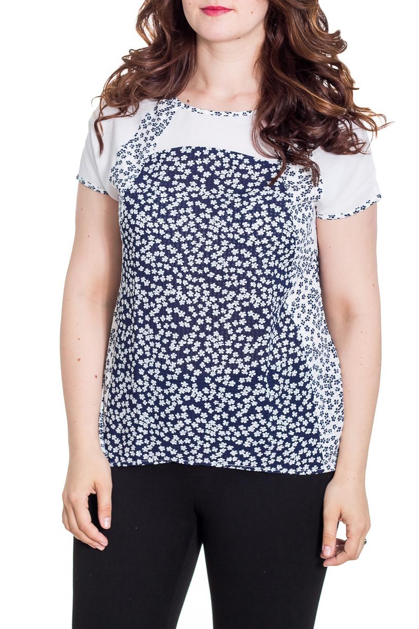 БлузкаБлузки<br>Цветная блузка попуприталенного силуэта с короткими рукавами. Модель выполнена из приятного материала. Отличный выбор на любой случай.  Цвет: синий, белый  Рост девушки-фотомодели 180 см<br><br>Горловина: С- горловина<br>По материалу: Хлопок<br>По рисунку: Растительные мотивы,С принтом,Цветные,Цветочные<br>По сезону: Весна,Зима,Лето,Осень,Всесезон<br>По силуэту: Полуприталенные<br>По стилю: Повседневный стиль<br>Рукав: Короткий рукав<br>Размер : 46,48,50,52<br>Материал: Хлопок<br>Количество в наличии: 4