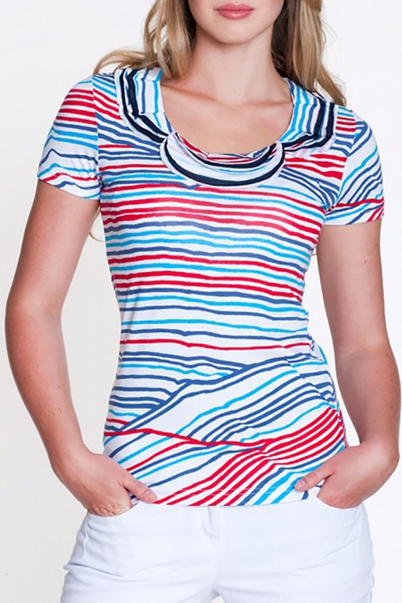 БлузкаБлузки<br>Красивая блузка с короткими рукавами. Модель выполнена из мягкой вискозы. Отличный выбор для повседневного гардероба.  Цвет: белый, голубой, красный  Росовка изделия 170 см<br><br>Горловина: С- горловина<br>По материалу: Вискоза,Трикотаж<br>По образу: Город<br>По рисунку: В полоску,С принтом,Цветные<br>По сезону: Весна,Зима,Лето,Осень,Всесезон<br>По силуэту: Полуприталенные<br>По стилю: Повседневный стиль<br>Рукав: Короткий рукав<br>Размер : 44,46<br>Материал: Вискоза<br>Количество в наличии: 1