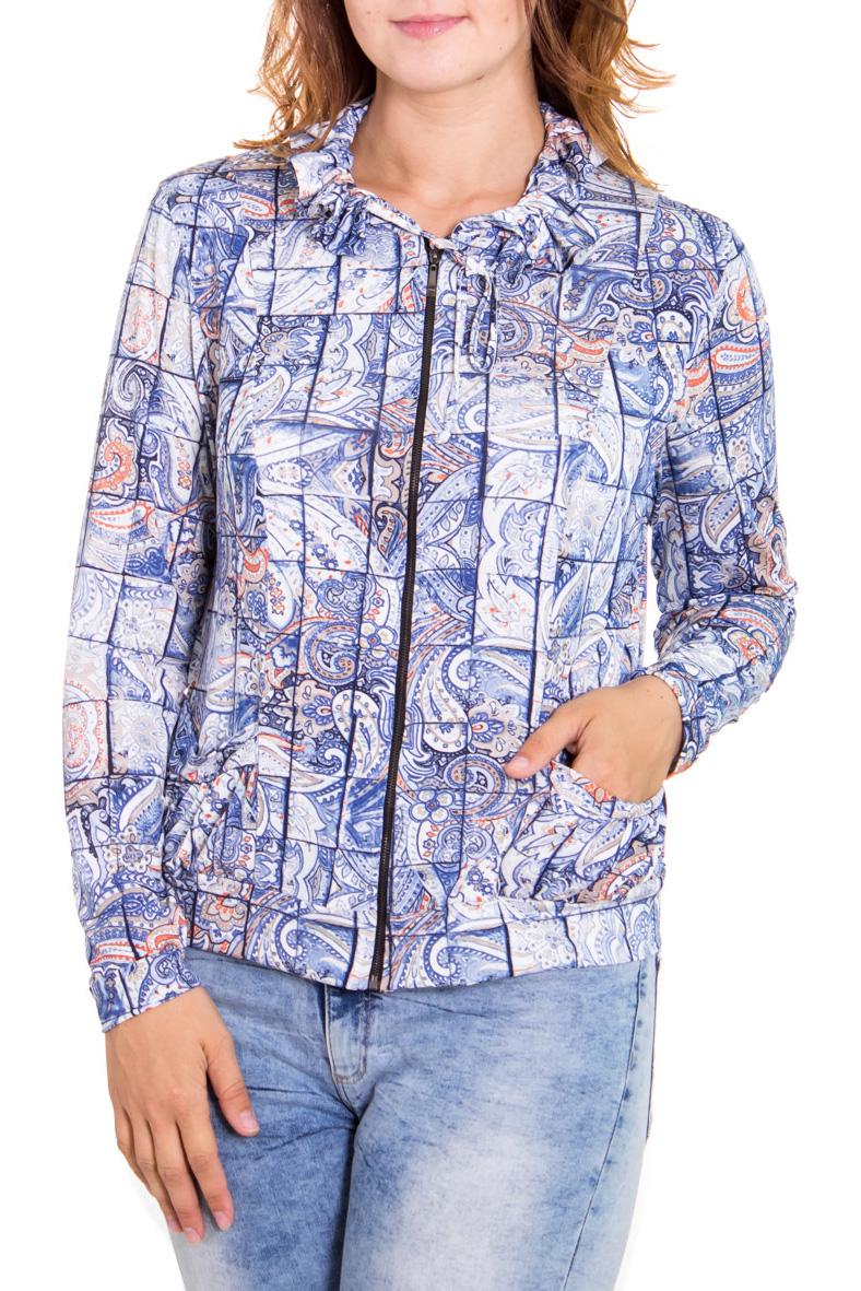 БлузкаБлузки<br>Чудесная женская блузка с длинным рукавом. Застежка - молния. Цвет: бело-голубой.<br><br>Воротник: Фантазийный<br>По материалу: Трикотаж<br>По рисунку: С принтом,Цветные<br>По сезону: Весна,Зима,Осень<br>По силуэту: Полуприталенные<br>По стилю: Повседневный стиль<br>По элементам: С воротником,С манжетами,С карманами<br>Рукав: Длинный рукав<br>Застежка: С молнией<br>Размер : 52<br>Материал: Холодное масло<br>Количество в наличии: 1