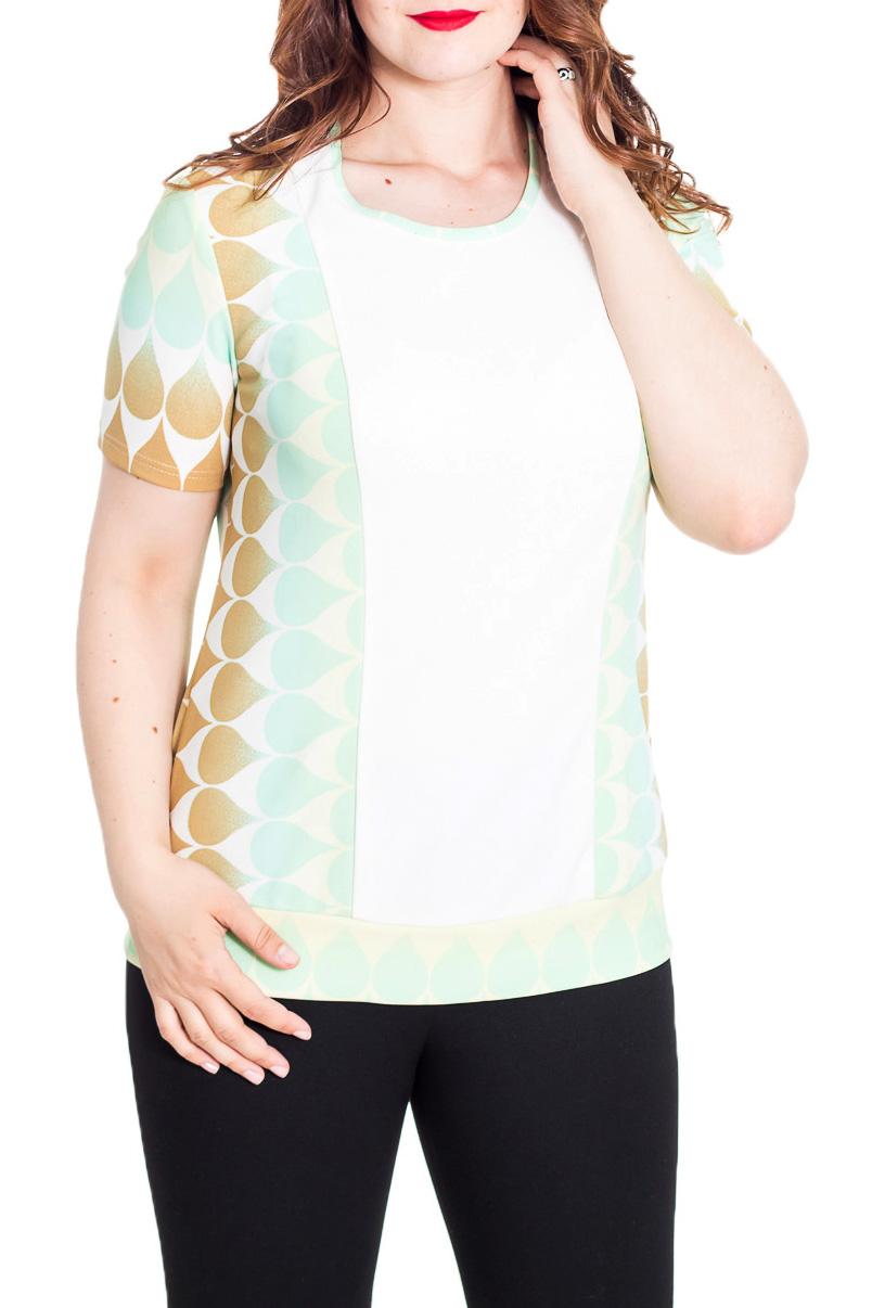 БлузкаБлузки<br>Классическая блузка с короткими рукавами. Модель станет идеальным дополнением к Вашему повседневному гардеробу.  Цвет: белый и др.  Рост девушки-фотомодели 180 см<br><br>Горловина: С- горловина<br>По материалу: Трикотаж<br>По рисунку: С принтом,Цветные<br>По сезону: Весна,Зима,Лето,Осень,Всесезон<br>По силуэту: Приталенные<br>По стилю: Повседневный стиль,Летний стиль<br>Рукав: Короткий рукав<br>Размер : 52<br>Материал: Трикотаж<br>Количество в наличии: 1