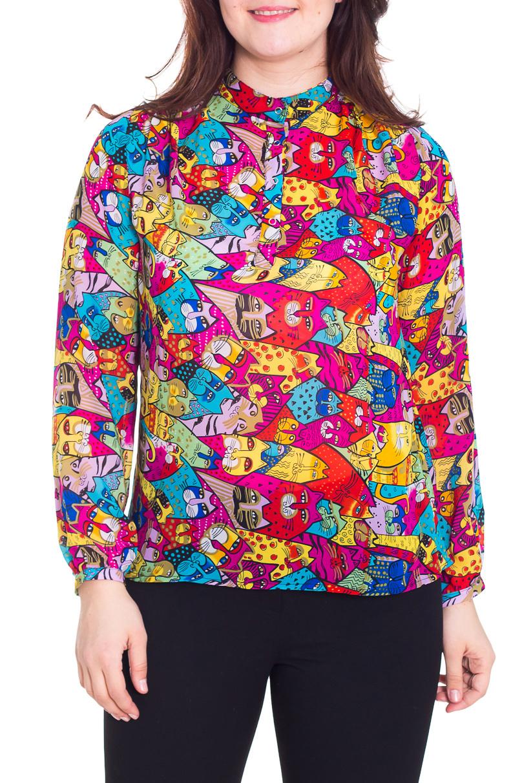 БлузкаБлузки<br>Свободная блузка с длинными рукавами. Модель выполнена из воздушного шифона. Отличный выбор для любого торжества.  Цвет: розовый, голубой, желтый, зеленый, красный  Рост девушки-фотомодели 180 см.<br><br>По материалу: Шифон<br>По рисунку: Абстракция,Животные мотивы,С принтом,Цветные<br>По сезону: Весна,Всесезон,Зима,Лето,Осень<br>По силуэту: Свободные<br>По стилю: Нарядный стиль,Повседневный стиль<br>Рукав: Длинный рукав<br>Воротник: Стойка<br>Размер : 46,50,52<br>Материал: Шифон<br>Количество в наличии: 5
