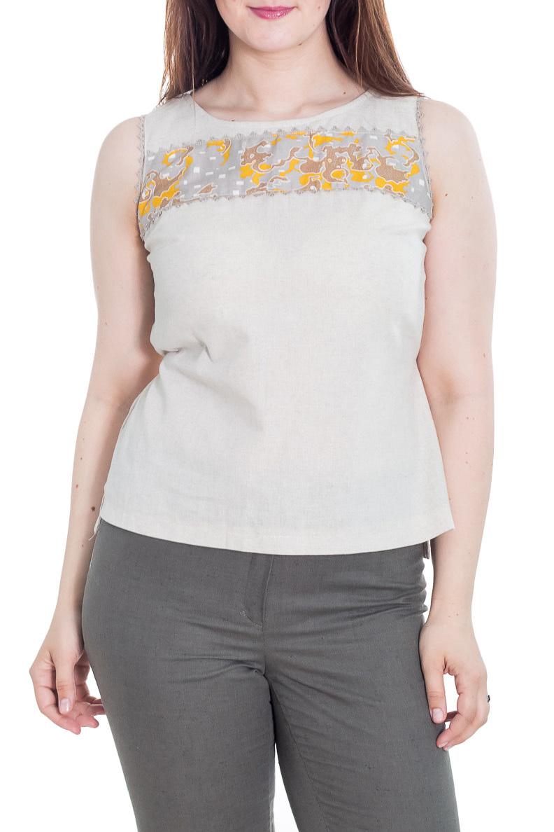 БлузкаБлузки<br>Классическая женская блузка без рукавов - это универсальный предмет одежды, в котором можно пойти как на работу, так и на свидание.  Цвет: серо-бежевый.  Рост девушки-фотомодели 180 см<br><br>Горловина: С- горловина<br>По материалу: Лен<br>По рисунку: Однотонные<br>По сезону: Весна,Зима,Лето,Осень,Всесезон<br>По силуэту: Полуприталенные<br>По стилю: Винтаж,Летний стиль,Повседневный стиль<br>По элементам: С декором<br>Рукав: Без рукавов<br>Размер : 48,52<br>Материал: Лен<br>Количество в наличии: 2