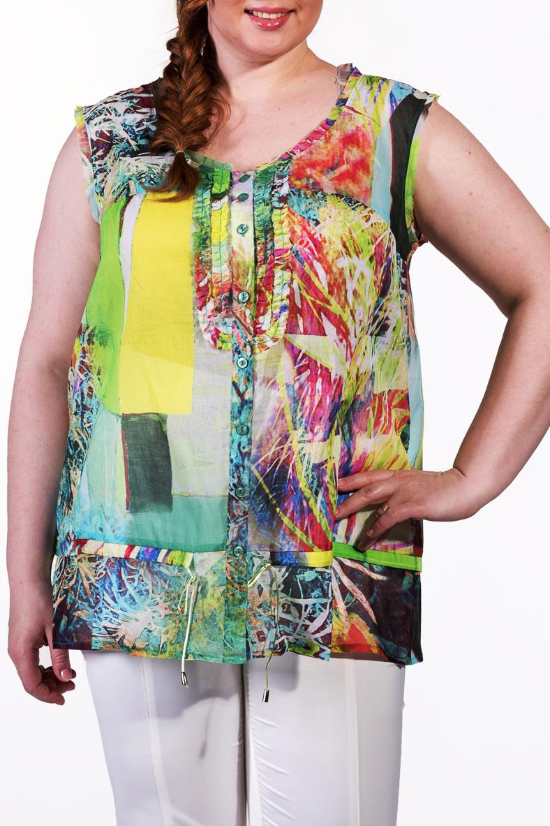 БлузкаБлузки<br>Цветная блузка без рукавов из натурального хлопка.  Повседневная одежда должна выполнять не только защитную, но и декоративную функцию, скрывая недостатки и подчеркивая достоинства. Поэтому одежда для полных должна быть прямого или свободного силуэта.  В изделии использованы цвета: зеленый, желтый, розовый и др.  Ростовка изделия 170 см.<br><br>Горловина: С- горловина<br>По материалу: Хлопок<br>По рисунку: С принтом,Цветные<br>По сезону: Весна,Зима,Лето,Осень,Всесезон<br>По силуэту: Полуприталенные<br>По стилю: Повседневный стиль<br>Рукав: Без рукавов<br>Размер : 52,54<br>Материал: Хлопок<br>Количество в наличии: 2