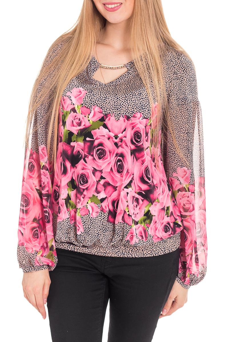 БлузкаБлузки<br>Женская блузка с длинными рукавами. Модель выполнена из воздушного шифона. Отличный выбор для повседневного гардероба.  За счет свободного кроя и эластичного материала изделие комфортно носить во время беременности  Цвет: бежевый, розовый  Рост девушки-фотомодели 170 см<br><br>Горловина: С- горловина<br>По материалу: Вискоза,Шифон<br>По рисунку: Леопард,Растительные мотивы,С принтом,Цветные,Цветочные<br>По сезону: Весна,Зима,Лето,Осень,Всесезон<br>По силуэту: Свободные<br>По стилю: Повседневный стиль<br>По элементам: С манжетами<br>Рукав: Длинный рукав<br>Размер : 42,44,46<br>Материал: Вискоза + Шифон<br>Количество в наличии: 7