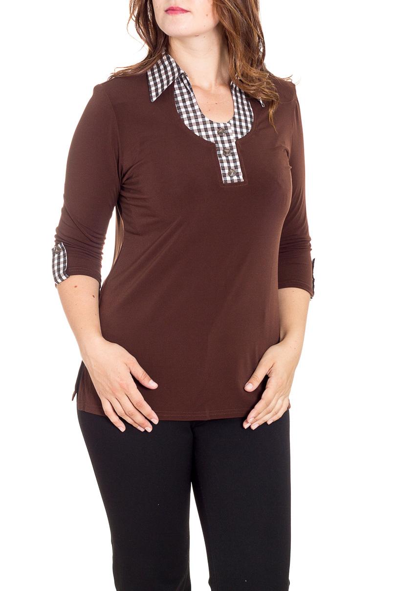 БлузкаБлузки<br>Красивая блузка с рукавами 3/4. Модель выполнена из приятного материала. Отличный выбор для повседневного гардероба.  В изделии использованы цвета: коричневый и др.  Рост девушки-фотомодели 180 см.<br><br>Воротник: Отложной<br>Застежка: С пуговицами<br>По материалу: Трикотаж<br>По образу: Город<br>По рисунку: Однотонные<br>По сезону: Весна,Зима,Лето,Осень,Всесезон<br>По силуэту: Приталенные<br>По стилю: Повседневный стиль<br>По элементам: С патами<br>Рукав: Рукав три четверти<br>Размер : 50<br>Материал: Холодное масло<br>Количество в наличии: 1
