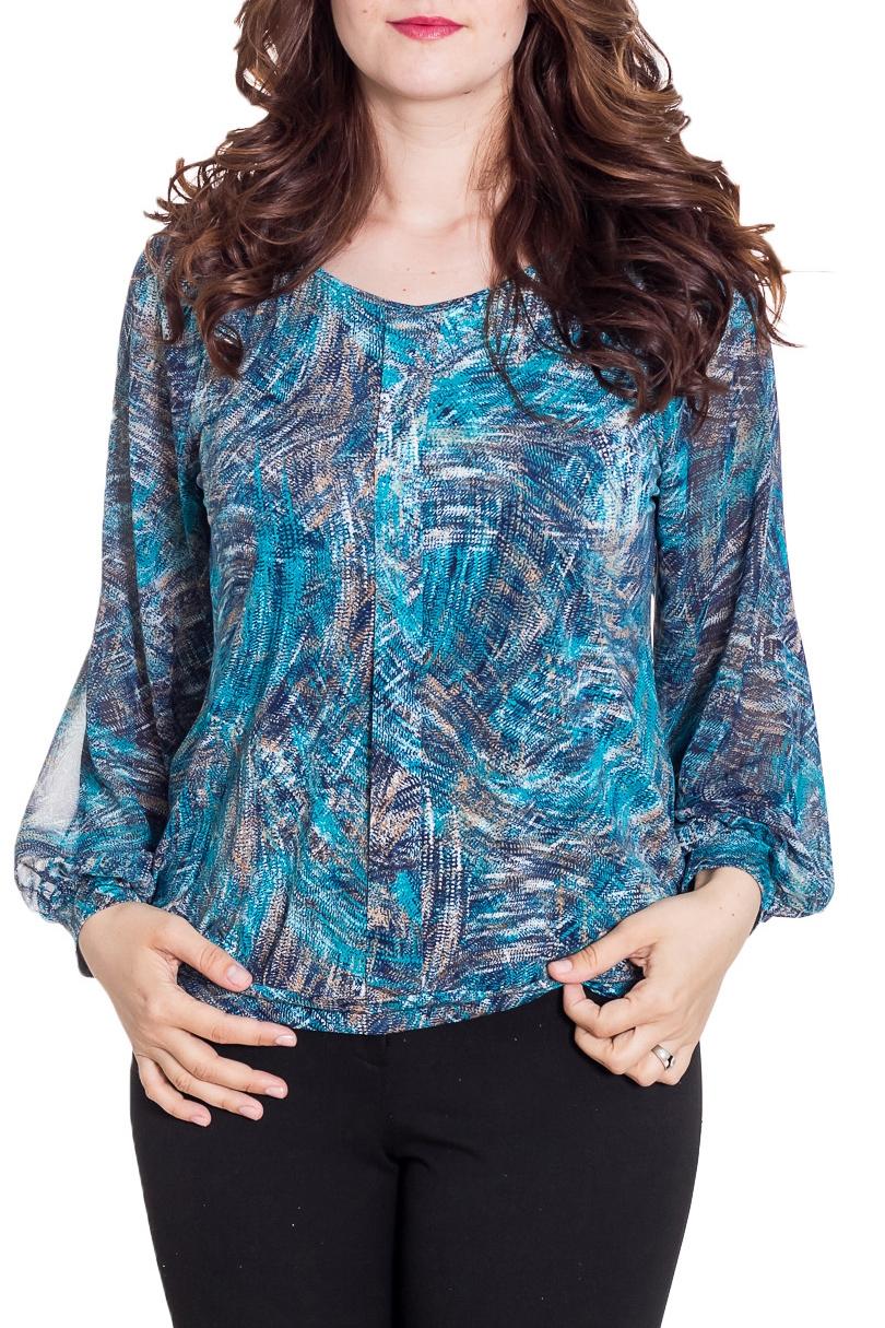 БлузкаБлузки<br>Цветная блузка свободного силуэта с длинными рукавами. Модель выполнена из приятного материала. Отличный выбор на любой случай.  Цвет: синий, голубой, белый  Рост девушки-фотомодели 180 см<br><br>Горловина: С- горловина<br>По материалу: Блузочная ткань,Вискоза<br>По рисунку: С принтом,Цветные<br>По сезону: Весна,Зима,Лето,Осень,Всесезон<br>По силуэту: Свободные<br>По стилю: Повседневный стиль<br>По элементам: С манжетами<br>Рукав: Длинный рукав<br>Размер : 48,50,54<br>Материал: Холодное масло + Шифон<br>Количество в наличии: 3