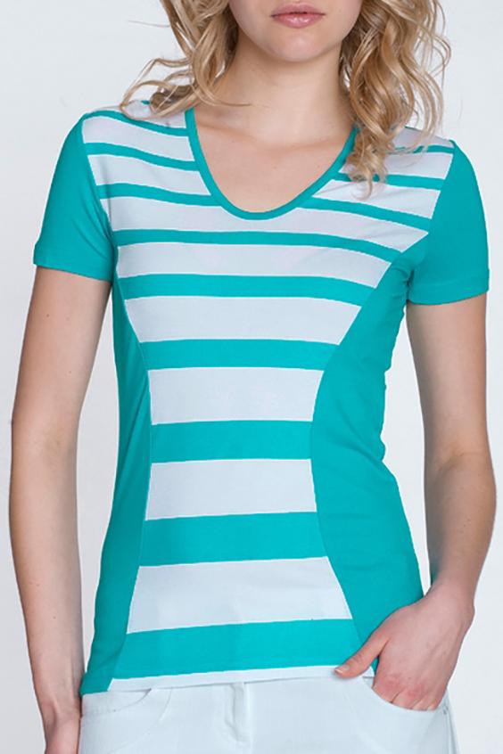БлузкаБлузки<br>Красивая блузка с короткими рукавами. Модель выполнена из мягкой вискозы. Отличный выбор для повседневного гардероба.  Цвет: белый, голубой  Росовка изделия 170 см<br><br>По материалу: Вискоза,Трикотаж<br>По рисунку: В полоску,Цветные<br>По сезону: Весна,Зима,Лето,Осень,Всесезон<br>По силуэту: Полуприталенные<br>По стилю: Повседневный стиль<br>Рукав: Короткий рукав<br>Горловина: С- горловина<br>Размер : 44,50<br>Материал: Вискоза<br>Количество в наличии: 2