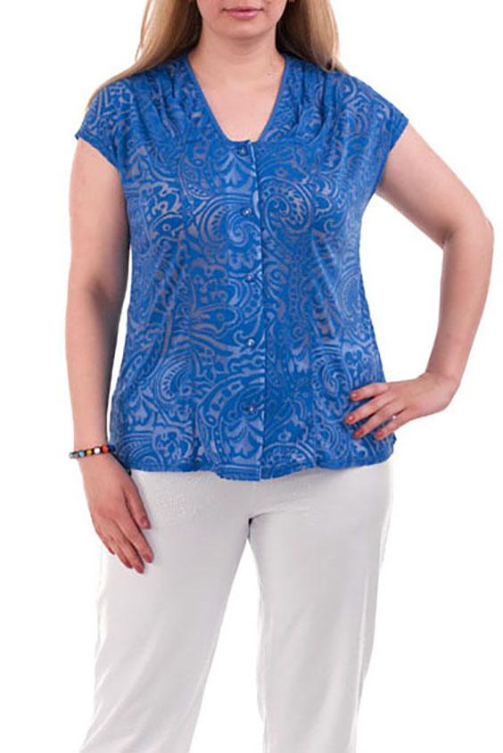 БлузкаБлузки<br>Красивая блузка с короткими рукавами и застежкой на пуговицы. Модель выполнена из мягкой вискозы. Отличный выбор для повседневного гардероба.  Цвет: синий  Рост девушки-фотомодели 173 см.<br><br>По образу: Город,Свидание<br>По стилю: Нарядный стиль,Повседневный стиль<br>По материалу: Вискоза<br>По рисунку: С принтом,Этнические<br>По сезону: Осень,Всесезон,Весна,Зима,Лето<br>По силуэту: Полуприталенные<br>Рукав: Короткий рукав<br>Горловина: С- горловина<br>Застежка: С пуговицами<br>Размер: 50,54,66<br>Материал: 50% полиэстер 45% вискоза 5% эластан<br>Количество в наличии: 3