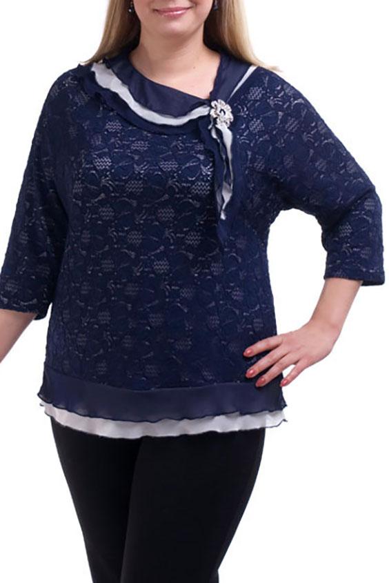 БлузкаБлузки<br>Нарядная блузка с рукавами 3/4 и декоративными воланами. Модель выполнена из ажурного гипюра и воздушного шифона. Отличный выбор для любого торжества.  Цвет: синий, белый  Рост девушки-фотомодели 173 см.<br><br>Горловина: С- горловина<br>По материалу: Гипюр,Шифон<br>По образу: Выход в свет,Свидание<br>По рисунку: Фактурный рисунок<br>По сезону: Весна,Зима,Лето,Осень,Всесезон<br>По силуэту: Полуприталенные<br>По стилю: Нарядный стиль<br>По элементам: С воланами и рюшами,С декором<br>Рукав: Рукав три четверти<br>Размер : 56,60,62,64,68<br>Материал: Гипюр + Шифон<br>Количество в наличии: 8