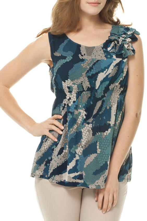 БлузкаБлузки<br>Красивая блузка без рукавов. Модель выполнена из воздушного шифона. Отличный выбор для повседневного гардероба.  Цвет: серый, синий и др.  Росовка изделия 170 см<br><br>Горловина: С- горловина<br>По материалу: Шифон<br>По образу: Город<br>По рисунку: С принтом,Цветные<br>По сезону: Весна,Зима,Лето,Осень,Всесезон<br>По силуэту: Полуприталенные<br>По стилю: Повседневный стиль<br>По элементам: С воланами и рюшами,С декором<br>Рукав: Без рукавов<br>Размер : 42,44,46,48<br>Материал: Шифон<br>Количество в наличии: 4