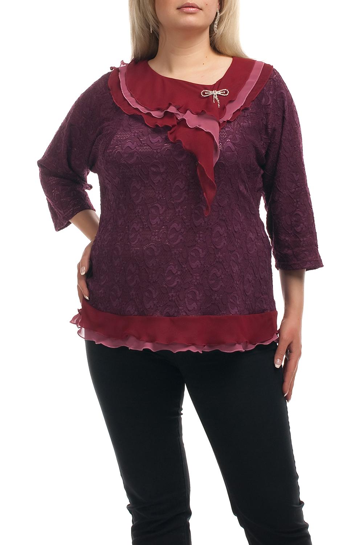 БлузкаБлузки<br>Нарядная блузка с рукавами 3/4 и декоративными воланами. Модель выполнена из ажурного гипюра и воздушного шифона. Отличный выбор для любого торжества.  Цвет: бордовый, красный  Рост девушки-фотомодели 173 см.<br><br>Горловина: С- горловина<br>По материалу: Гипюр,Шифон<br>По рисунку: Фактурный рисунок<br>По сезону: Весна,Зима,Лето,Осень,Всесезон<br>По силуэту: Полуприталенные<br>По стилю: Нарядный стиль,Вечерний стиль<br>По элементам: С воланами и рюшами,С декором<br>Рукав: Рукав три четверти<br>Размер : 56,58,62,68<br>Материал: Гипюр + Шифон<br>Количество в наличии: 5