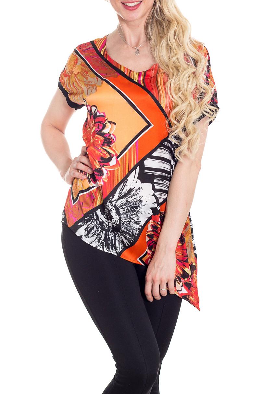 БлузкаБлузки<br>Восхитительная блузка с V-образной горловиной и короткими рукавами. Модель выполнена из гладкого атласа. Отличный выбор для повседневного гардероба.  В изделии использованы цвета: оранжевый, черный и др.  Рост девушки-фотомодели 170 см.<br><br>Горловина: V- горловина<br>По материалу: Атлас,Тканевые<br>По рисунку: Растительные мотивы,С принтом,Цветные,Цветочные<br>По сезону: Весна,Зима,Лето,Осень,Всесезон<br>По силуэту: Прямые<br>По стилю: Повседневный стиль<br>По элементам: С фигурным низом<br>Рукав: Короткий рукав<br>Размер : 46,48,50,52,54,56,58<br>Материал: Атлас<br>Количество в наличии: 7