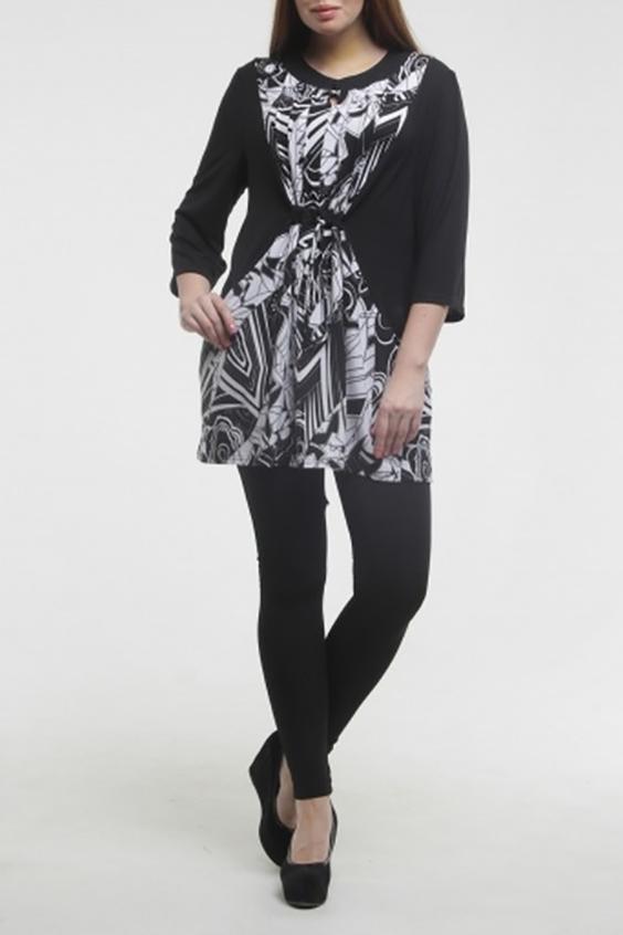 ТуникаТуники<br>Туника из комбинированной ткани, кулиска на талии, рукав 3/4, складки на груди, идеально подойдет в сочетании как с брюками, так и с лосинами.  Цвет: черный, белый  Длина изделия 81 см.  Рост девушки-фотомодели 175 см.<br><br>Горловина: С- горловина<br>По материалу: Трикотаж,Шерсть<br>По рисунку: Цветные,С принтом<br>По силуэту: Свободные<br>По стилю: Повседневный стиль<br>По элементам: С декором<br>Рукав: Рукав три четверти<br>По сезону: Зима<br>Размер : 54,56,58,60,64,66<br>Материал: Трикотаж<br>Количество в наличии: 9
