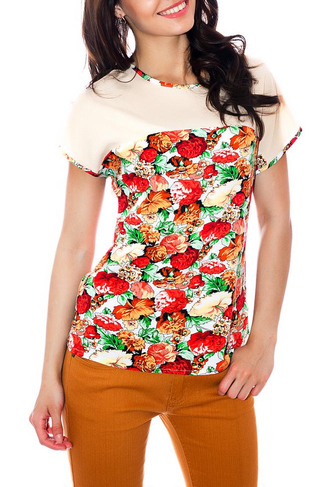 БлузкаБлузки<br>Эффектная блузка с короткими рукавами. Модель  выполнена из хлопкового материала. Отличный выбор для повседневного гардероба.  Параметры изделия: 44 размер: длина изделия по спинке - 68см, ширина - 52см;  54 размер: длина изделия по спинке - 72см, ширина - 62см  Цвет: кремовый, красный, зеленый  Рост девушки-фотомодели 170 см<br><br>Горловина: С- горловина<br>По материалу: Хлопок<br>По рисунку: Растительные мотивы,С принтом,Цветные,Цветочные<br>По сезону: Весна,Зима,Лето,Осень,Всесезон<br>По силуэту: Полуприталенные<br>По стилю: Повседневный стиль,Летний стиль<br>Рукав: Короткий рукав<br>Размер : 56<br>Материал: Хлопок<br>Количество в наличии: 1