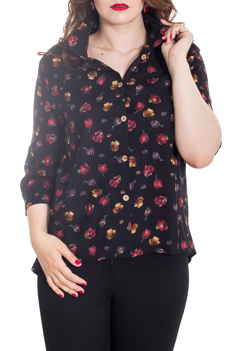 БлузкаБлузки<br>Очаровательная блузка, которая станет основой Вашего повседневного гардероба.  Цвет: черный и др.  Рост девушки-фотомодели 180 см<br><br>Воротник: Рубашечный,Стояче-отложной<br>Застежка: С пуговицами<br>По материалу: Хлопок<br>По рисунку: Растительные мотивы,С принтом,Цветные,Цветочные<br>По сезону: Весна,Зима,Лето,Осень,Всесезон<br>По силуэту: Полуприталенные<br>По стилю: Повседневный стиль<br>По элементам: С манжетами<br>Рукав: Рукав три четверти<br>Размер : 44-46,48-50,52-54<br>Материал: Хлопок<br>Количество в наличии: 3