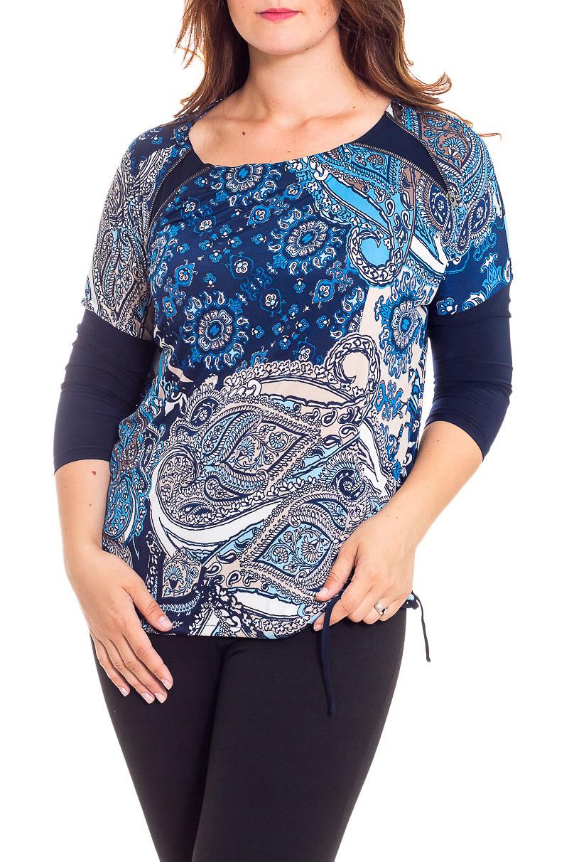 БлузкаБлузки<br>Изумительная женская блузка, которая станет изумительным вариантом повседневного или выходного наряда. На плечах декор из молний, по низу завязка-затяжка.  В изделии использованы цвета: синий, голубой и др.  Рост девушки-фотомодели 180 см.<br><br>Горловина: С- горловина<br>По материалу: Вискоза,Трикотаж<br>По рисунку: Абстракция,С принтом,Цветные,Этнические<br>По сезону: Весна,Зима,Осень,Всесезон<br>По силуэту: Приталенные<br>По стилю: Повседневный стиль<br>По элементам: С декором<br>Размер : 48,50,52,58<br>Материал: Холодное масло<br>Количество в наличии: 4