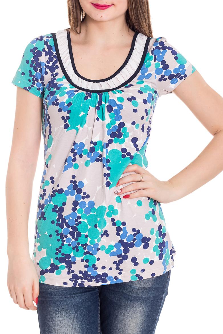 БлузкаБлузки<br>Красивая блузка с короткими рукавами. Модель выполнена из мягкой вискозы. Отличный выбор для повседневного гардероба.  Цвет: серый, белый, голубой, синий  Рост девушки-фотомодели 180 см<br><br>Горловина: С- горловина<br>По материалу: Вискоза<br>По рисунку: С принтом,Цветные,В горошек<br>По сезону: Весна,Зима,Лето,Осень,Всесезон<br>По силуэту: Полуприталенные<br>По стилю: Повседневный стиль<br>Рукав: Короткий рукав<br>Размер : 44,46<br>Материал: Вискоза<br>Количество в наличии: 2